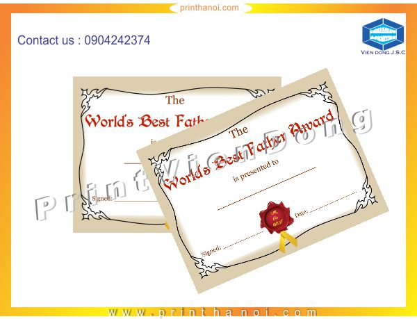 Print Certificate in Hanoi | Fat business cards with cheap price in Ha Noi | Print Ha Noi