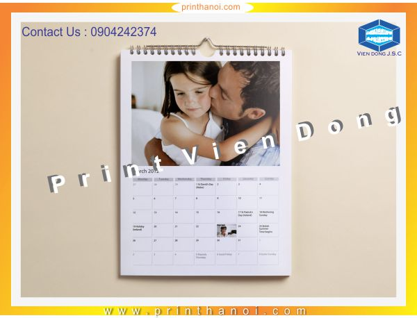Wall calendar printing | Spot Gloss Business Cards in Ha Noi | Print Ha Noi